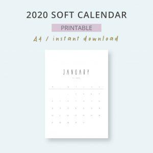 2020 Calendar Soft Mensual Imprimible Mes
