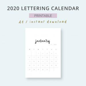 2020 Calendar Lettering Mensual Imprimible Mes