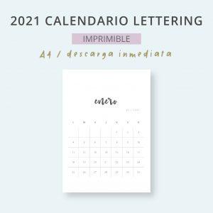 2021 Calendario Lettering Mensual Imprimible Mes