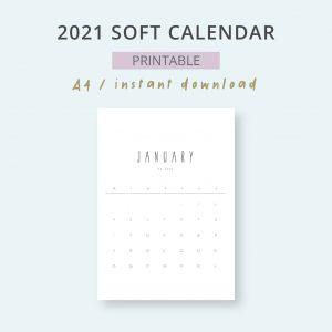 2021 Calendar Soft Mensual Imprimible Mes