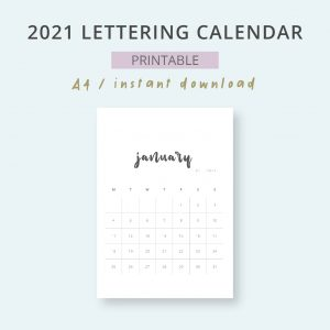 2021 Calendar Lettering Mensual Imprimible Mes