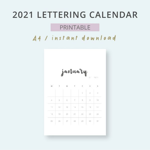 2021 Calendar Lettering Mensual Imprimible Mes
