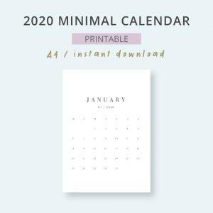 2020 Monthly Minimal Planner Calendar Printable