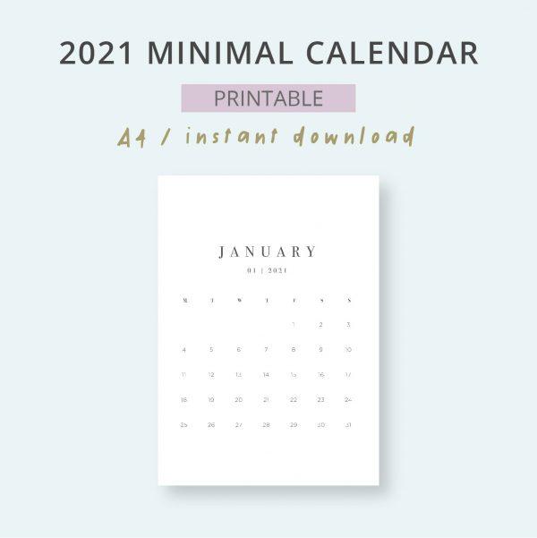 2021 Monthly Minimal Planner Calendar Printable