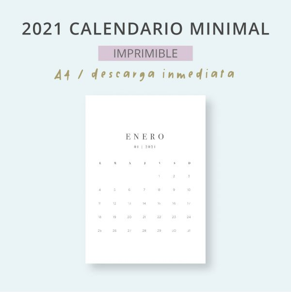 2021 Calendario Minimal Mensual Imprimible Mes
