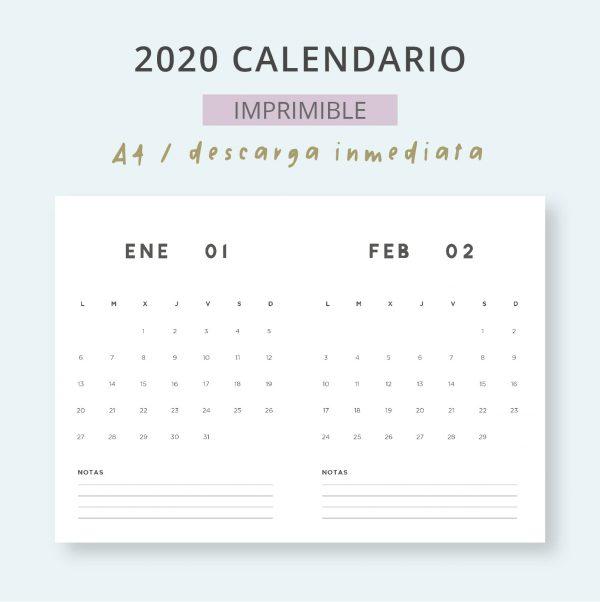 2020 Calendario Mensual Imprimible