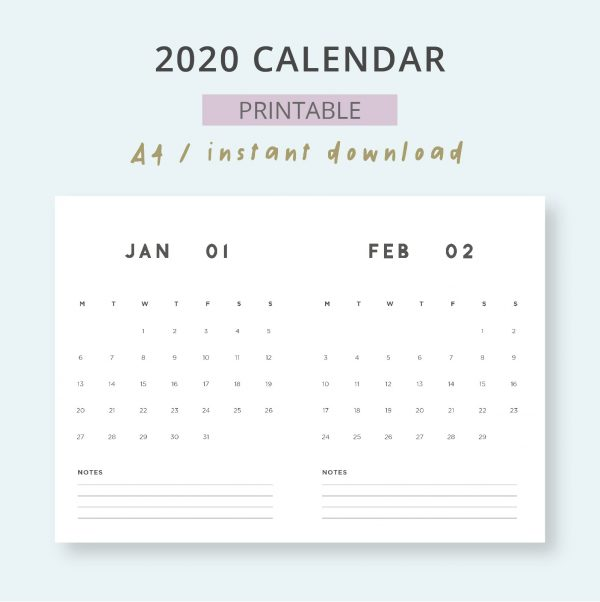 2020 Monthly Planner Calendar Printable