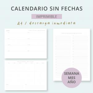 Calendario sin fechas